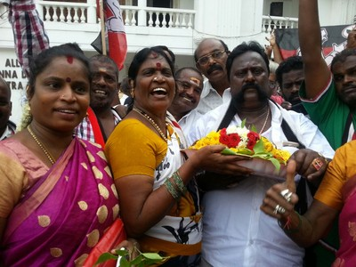 Party workers outside the AIADMK headquarters in Chennai.