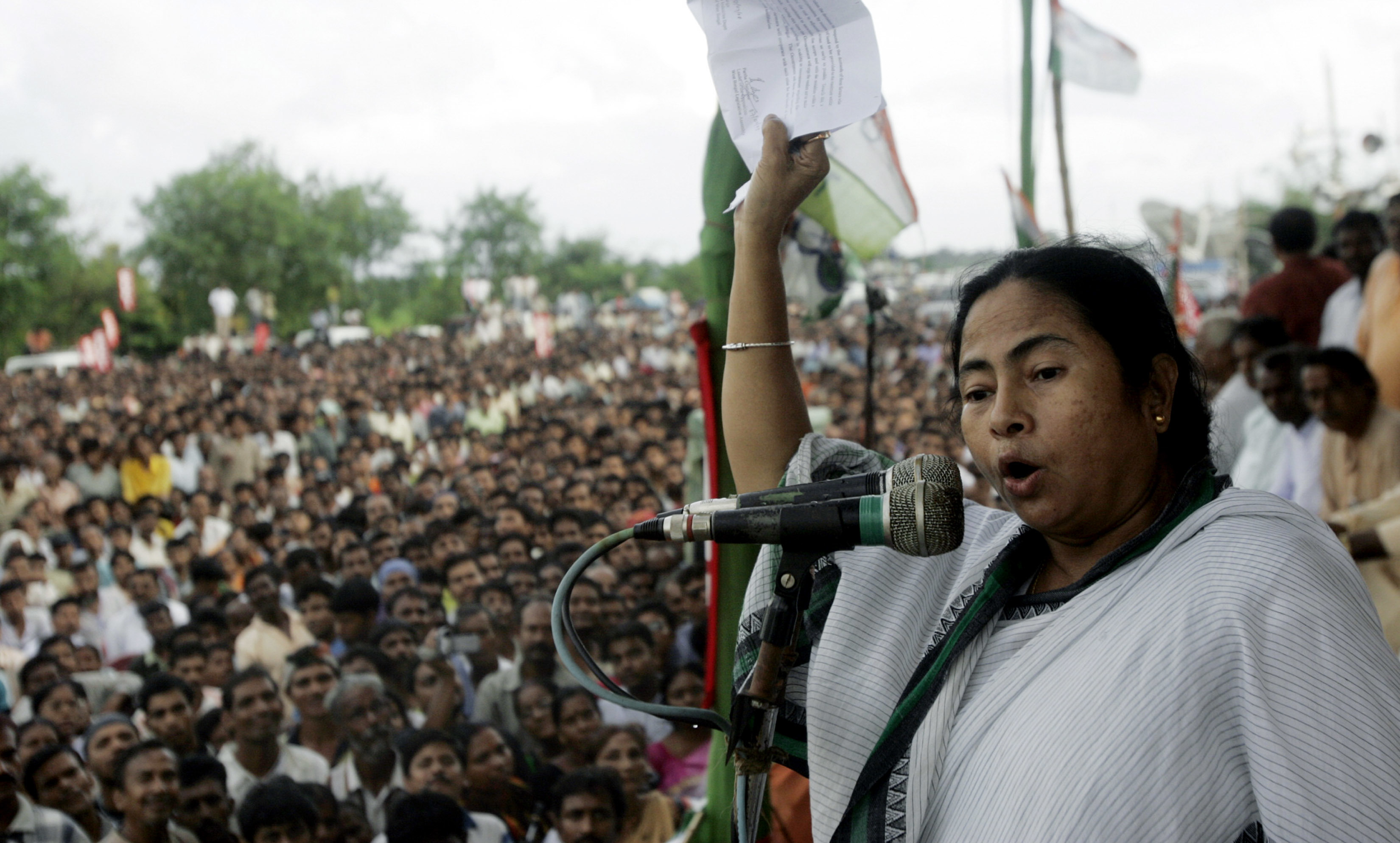 Mamata Banerjee leveraged the agitations against land acquisition in Singur and Nandigram to break up the Left Front's 'party-society'. Photo credit: AFP