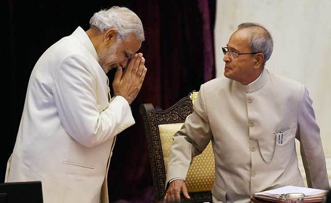 """""""Pranab Da, you have always been a father figure and a mentor to me,"""" wrote Prime Minister Narendra Modi on Mukherjee's last day in office as president. of India. Photo: PTI"""
