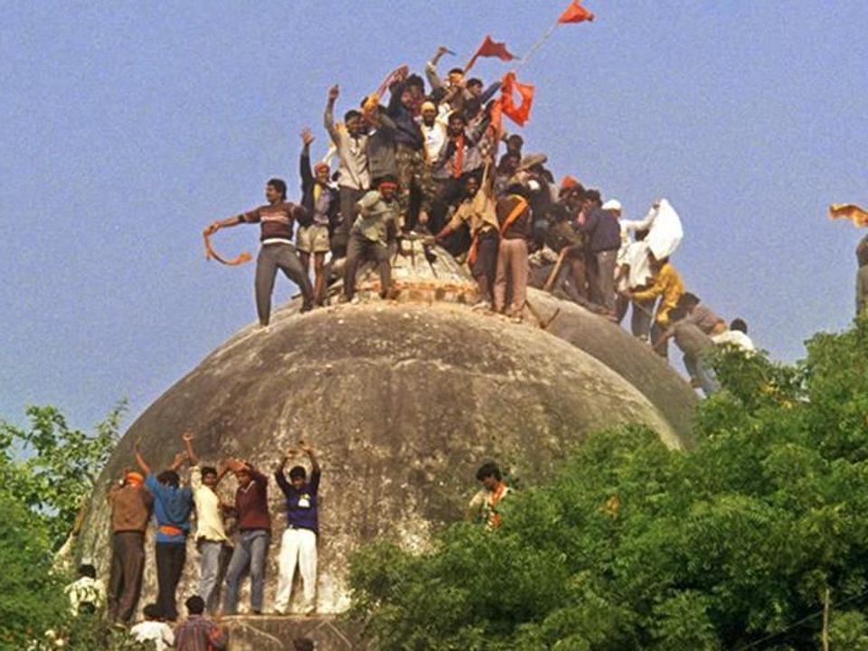 'They took advantage of the Supreme Court not defining what symbolic karseva meant and brought hordes of people, with implements such as crowbars, to Ayodhya and pulled down the Babri Masjid'. Photo credit: HT