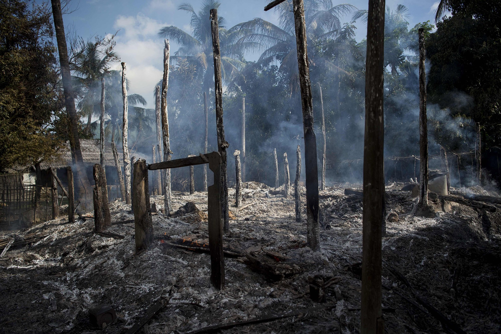 In Myanmar's Rakhine, entire Rohingya villages have been burnt to ground. Photo credit: AFP