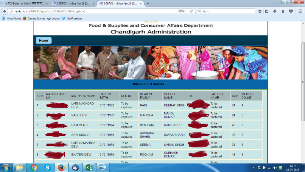 Screenshot of a Chandigarh Union Territory website displaying Aadhaar information.