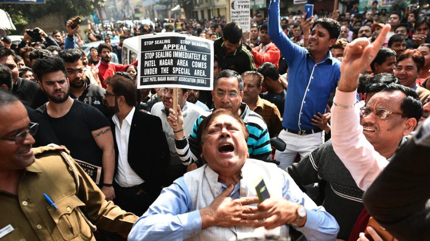 Traders protest against the sealing drive in Delhi. Photo credit: HT