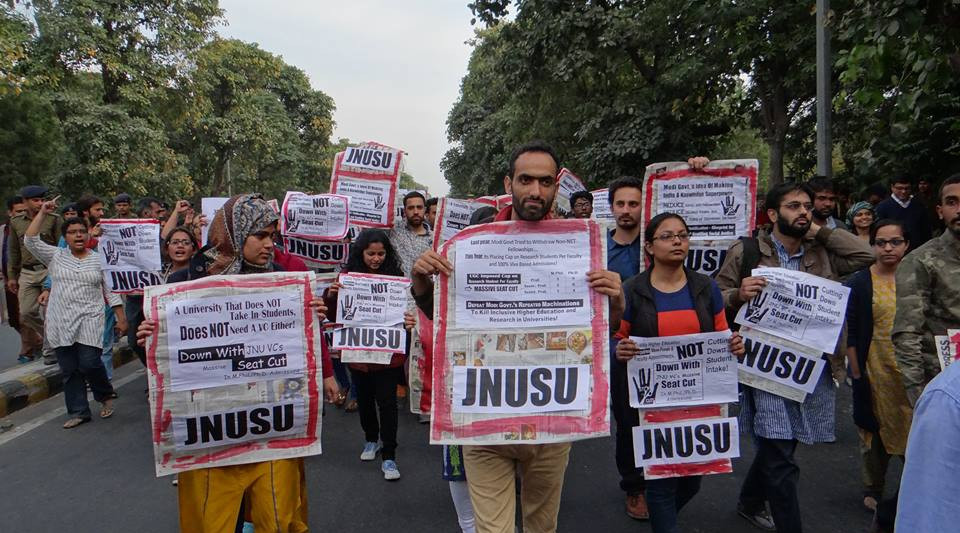 File Photo: JNU student union protest. Image credit: Samim Asgor Ali