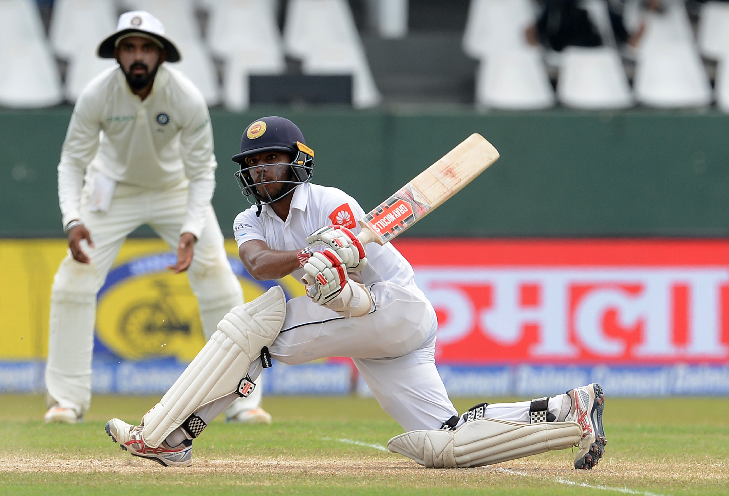 Kusal Mendis sweeps his way to a counter-attacking century. (Image credit: Lakruwan Wanniarachchi/AFP)