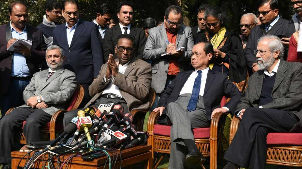 Supreme Court judges J. Chelameswar, Ranjan Gogoi, MB Lokur and Kurian Joseph address an unprecedented press conference in New Delhi on Friday. Image: HT