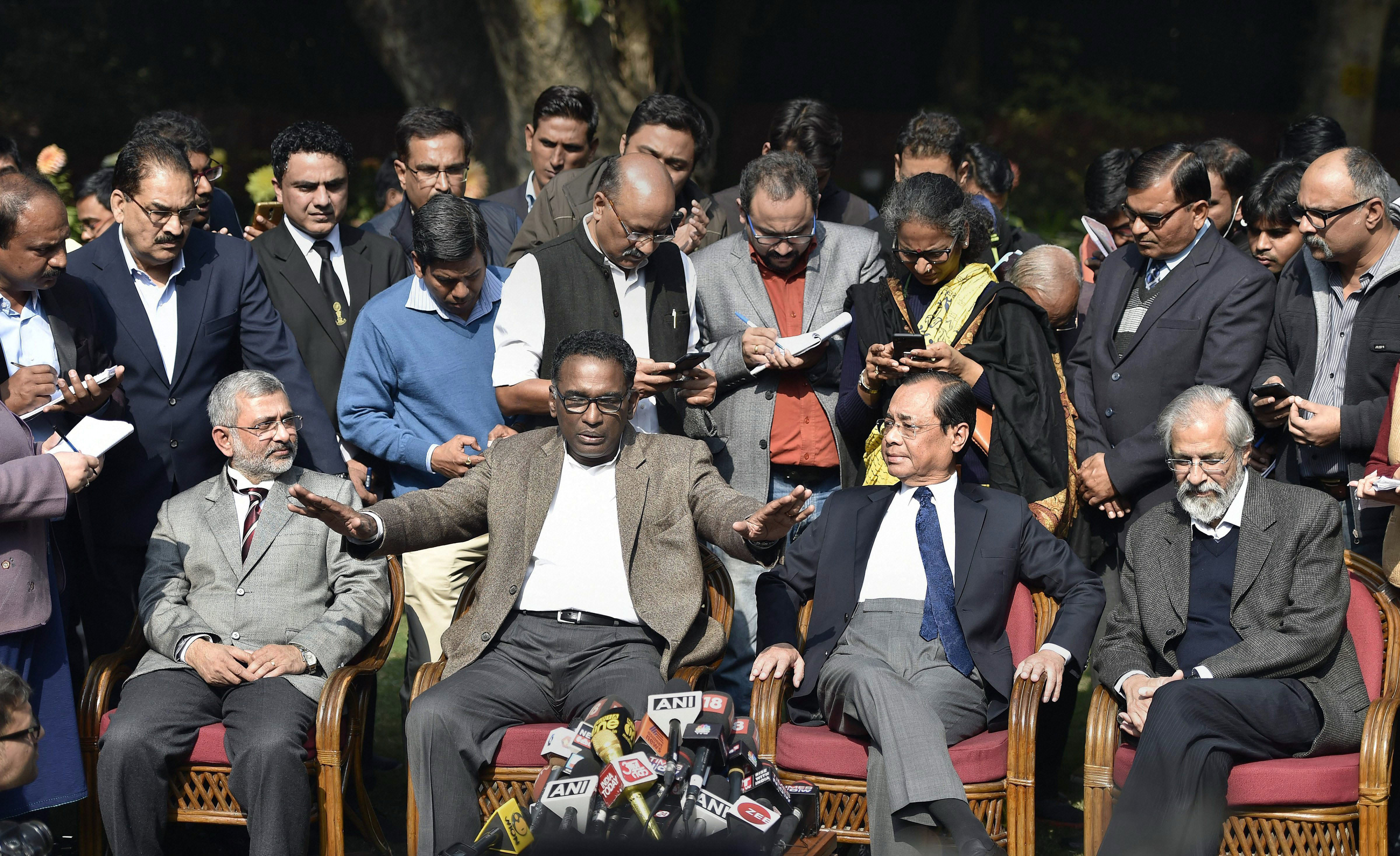 The press conference of the four Supreme Court judges on January 12. Photo: IANS
